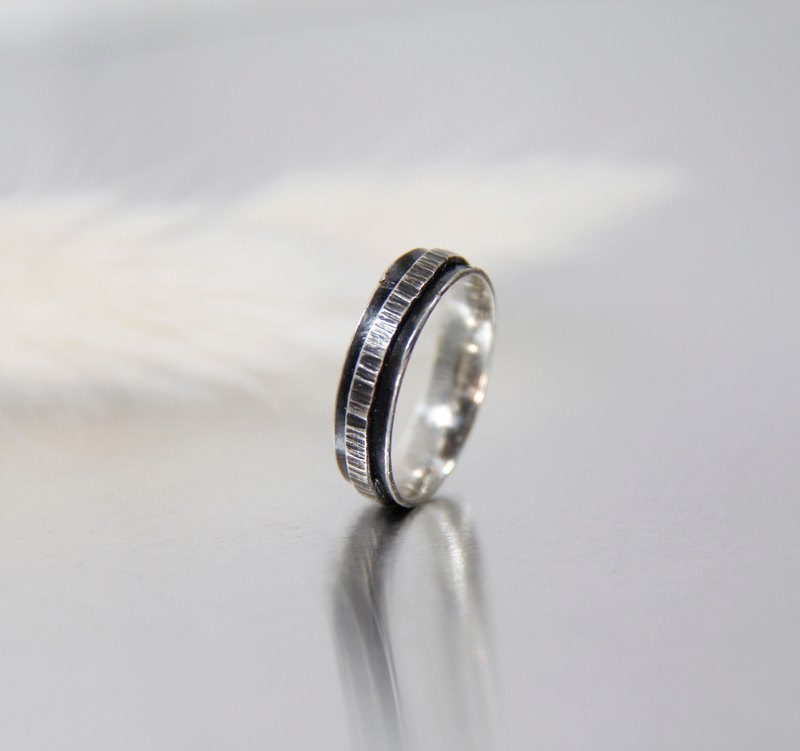 Vintage forging double ring silver ring