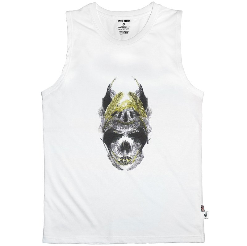 British Fashion Brand -Baker Street- Golden Feather Skull Printed Tank Top