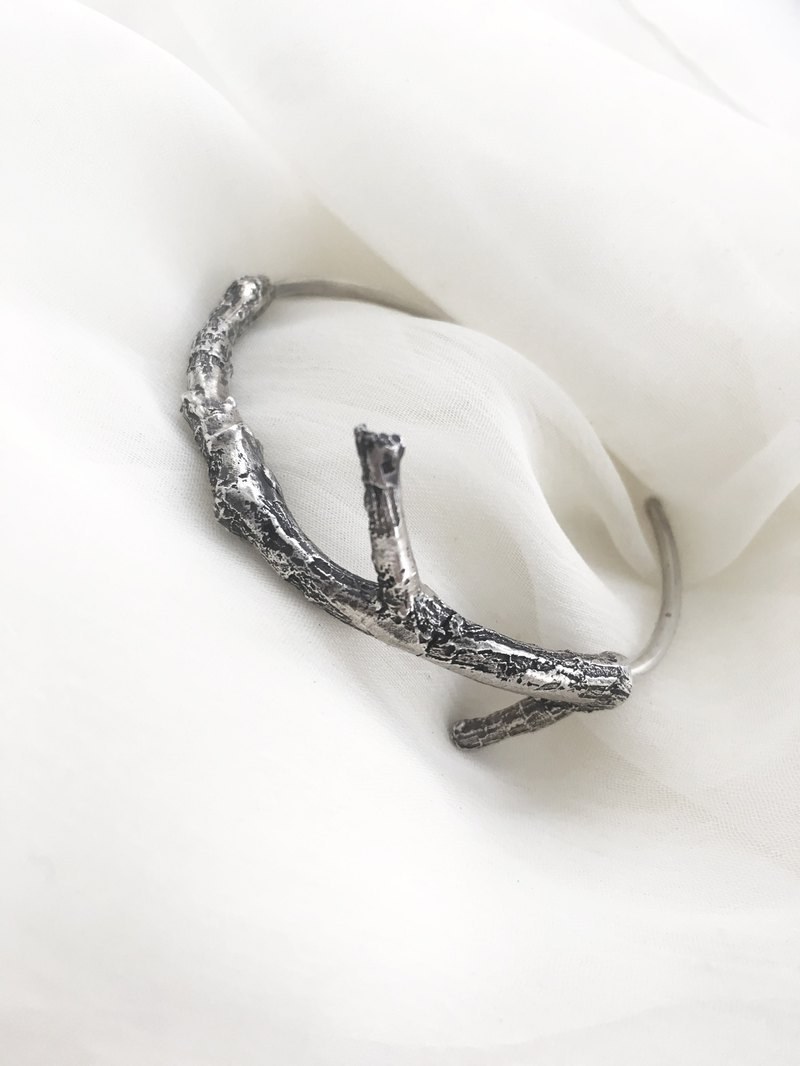 Plant illustration sterling silver branch bracelet