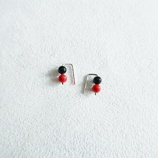 4mm round beads/Black red/Color beads/Earrings/Sterling Silver/By hand【ZHÀO】SZE1778