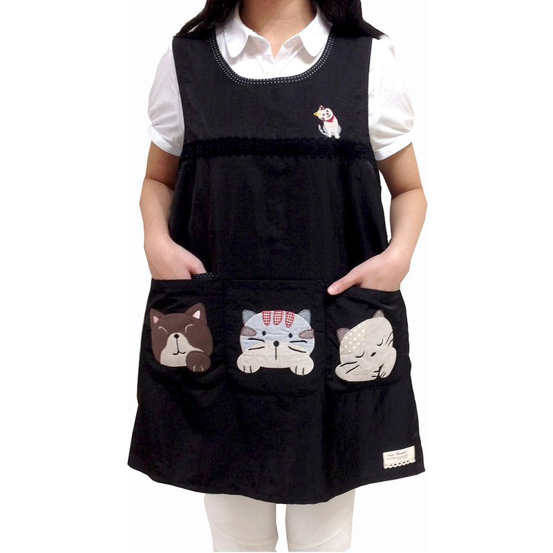 [BEAR BOY] silky cotton sprouting animal 4 pocket apron - black (post tied)
