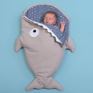 [Spanish] Shark bite BabyBites cotton infant multi-function sleeping bag - khaki gray blue