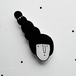 Miss Hairy Collection / Black and White Brooch/ H005