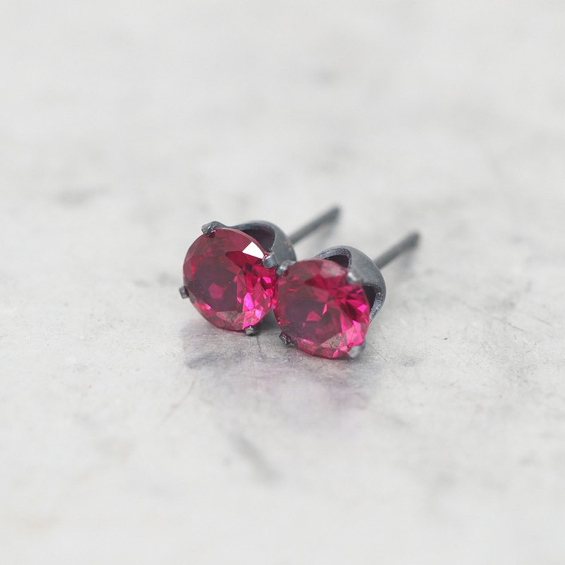 Red Ruby Black Stud Earrings - Black Sterling Silver - 6mm Round