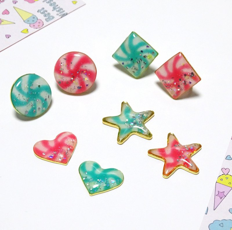 Hand-painted candy earrings / ear clips [heart-shaped] [star-shaped] [round]