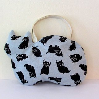 Black Cat Neco Bag Light Blue Hand Holder