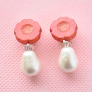 red flower & cotton pearl clip earrings red