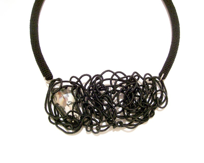 Black Party Necklace Free Motion Tubular Sculpture