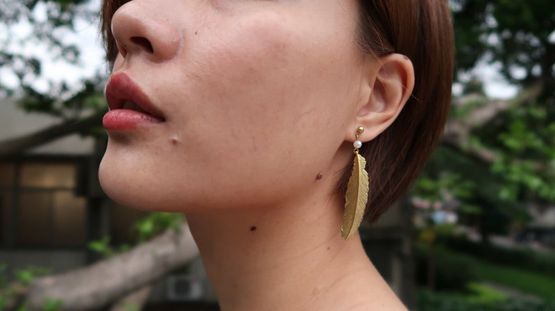 Brass Earrings - Basic Style - Angel Feather Angel feather