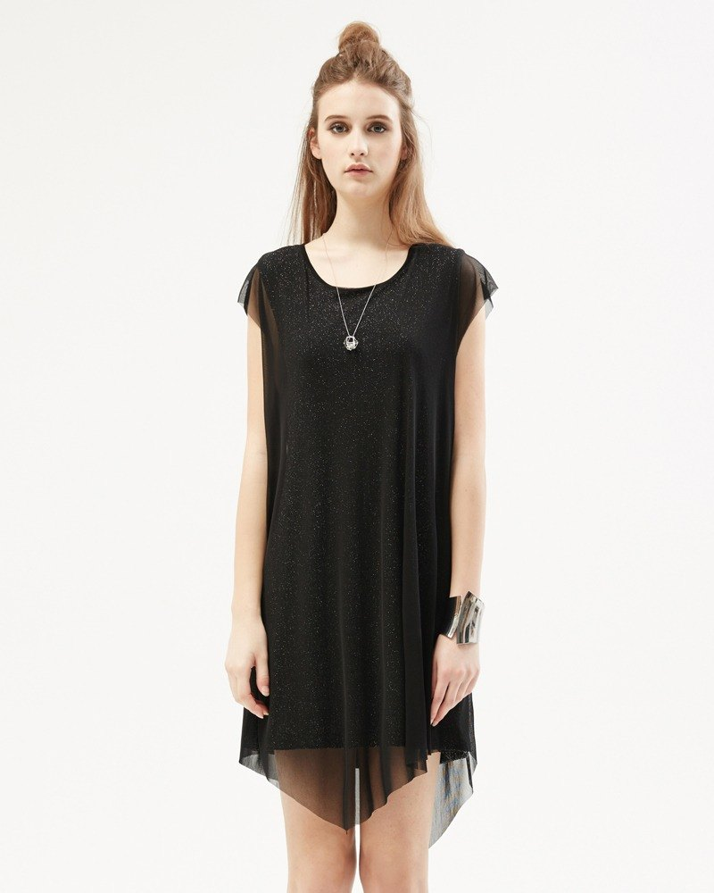 Silver onions false two knit dress Oversized T-shirt Dress in Metallic