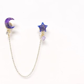 [Atelier A.] Christmas selection of the moon and stars dual-use buckle pin