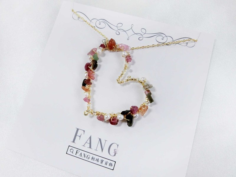 [Fun] Tourmaline pearl necklace gold long necklace