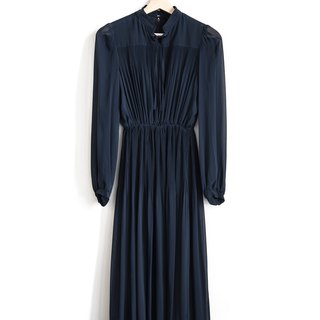 Vintage dark blue elegant vintage long-sleeved dress