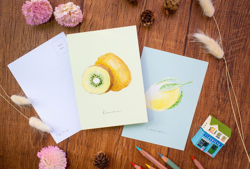 Hand Drawn Fruit Postcard 6 postcards pack