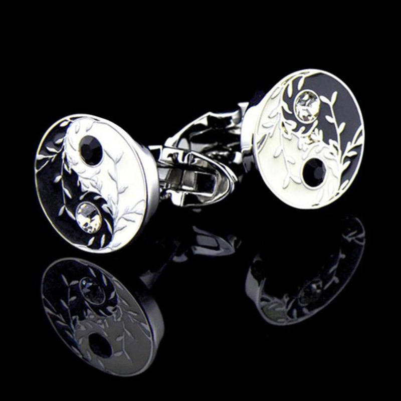 Kings Collection Silver White Tai Chi Cufflinks KC10120 Silver