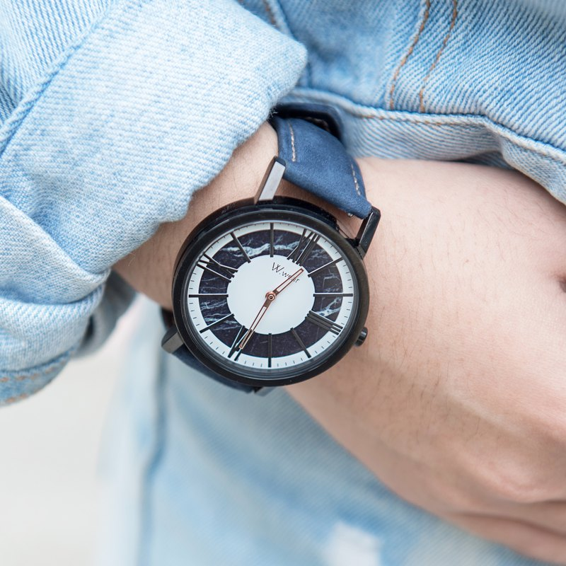 Black marble with roman nail watch - white style blue strap