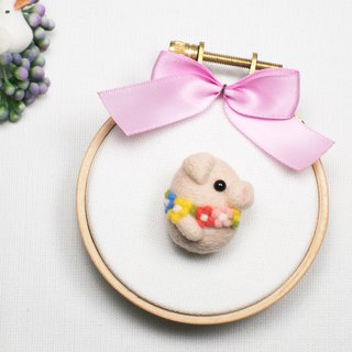 Needle-felted Flower Pig (brooch/key ring/phone strap)