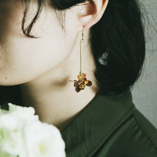 Febbi Hydrangea Pendant Brass Earrings