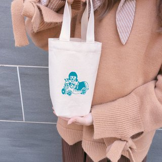 Beverage car / Green canvas drink bag