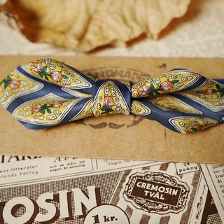 Papa's Bow Tie- Antique Cloth Tie Tie Handmade Bow Tie - Goodnight Goodnight Blue - Wide Edition