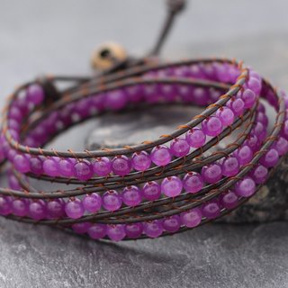 Leather Wrap Bracelet Leather Wrap Brown Amethyst Beaded Bracelet Woven Stone