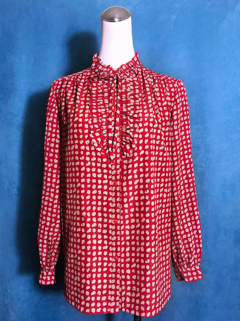 Ruffled bow tie long sleeve vintage shirt / bring back VINTAGE abroad