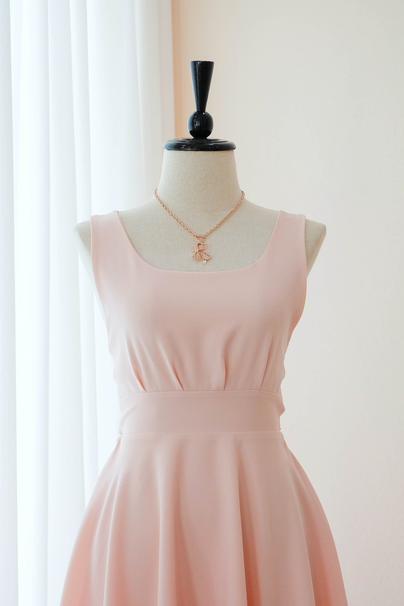 Pink blush Dress Pink Prom Dress Bridesmaid Dress Cocktail Backless Mid length