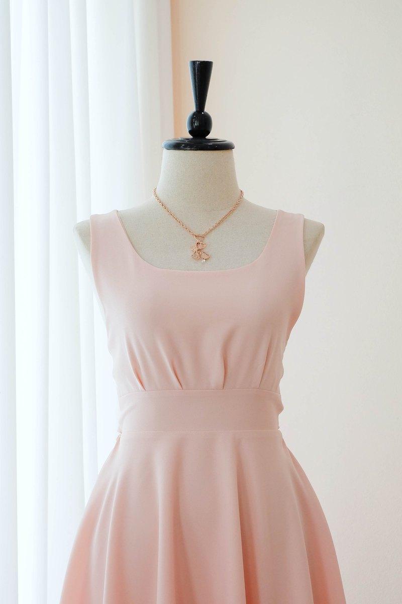 粉色腮紅連衣裙粉色舞會禮服伴娘禮服雞尾酒露背中長