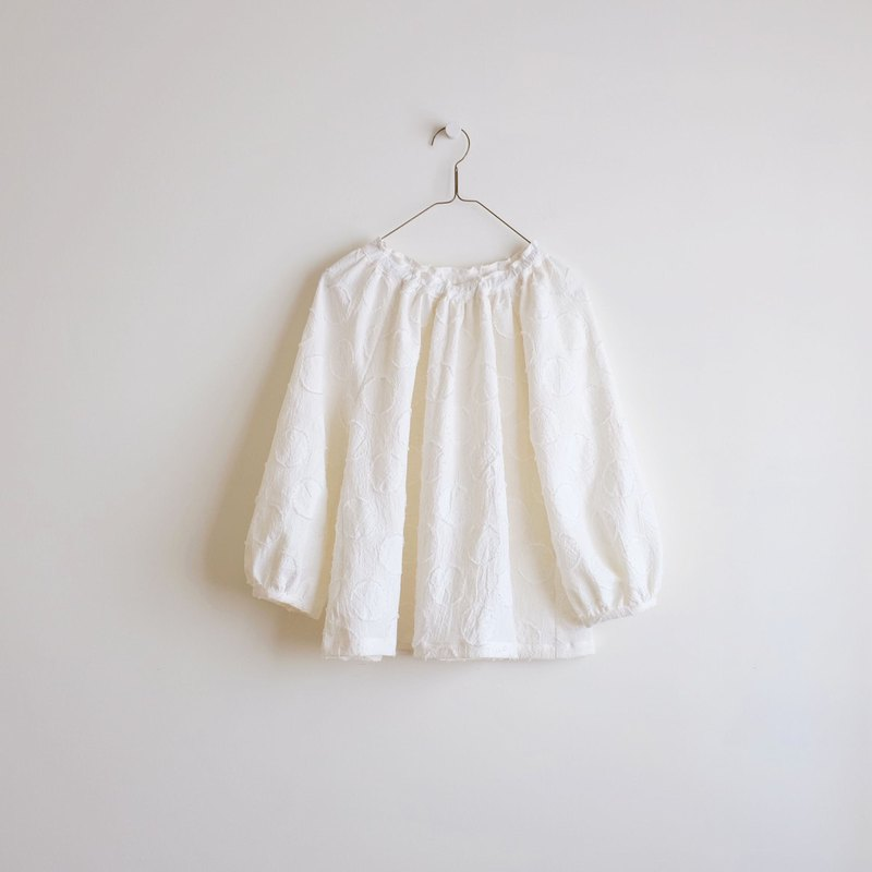 Daily hand-made suit cotton white water jade puff sleeve elastic blouse cotton and linen