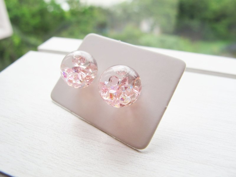 Rosy Garden Light Pink crystals with water inside glass ball stud earrings