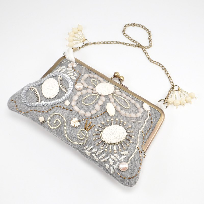 Sparkle and statement purse with frame, one of a kind handbag, gray bag