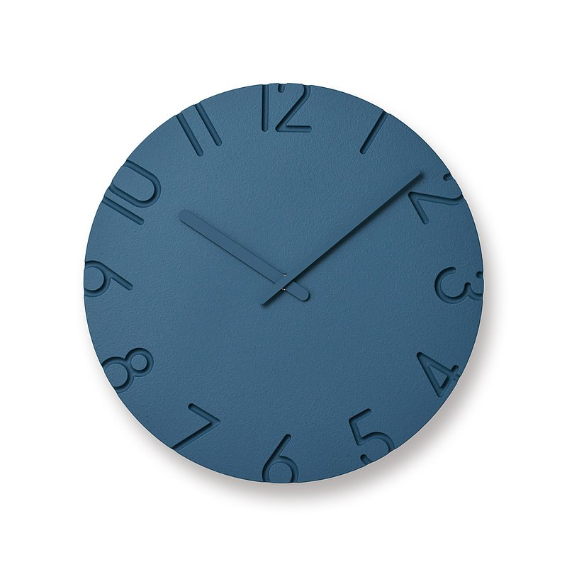 Lemnos Carved Color L Clock - Blue