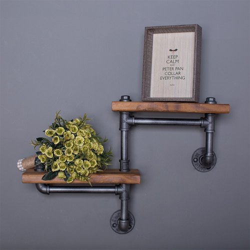 Carpenter workshop industrial Feng Shui pipe shelves wall decorative frame