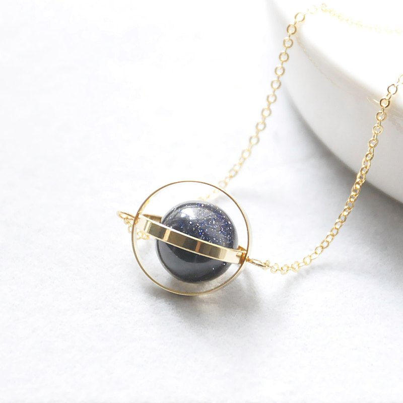 armei 金環。藍砂。神秘星球。宇宙 項鍊 Golden Ring。Blue Sandstone。Mysterious Planet。Galaxy Necklace