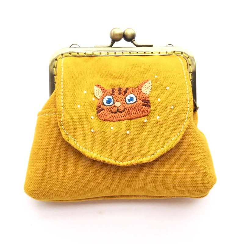 Embroidered cat mouth gold multi-purpose bag