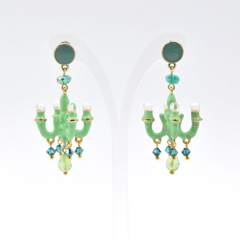 French enamel mint green signature style mini chandelier earrings seven colors rainbow multicolor selection