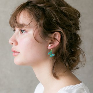 Bluegreen Butterfly Stud Earrings With Pearl, BG02