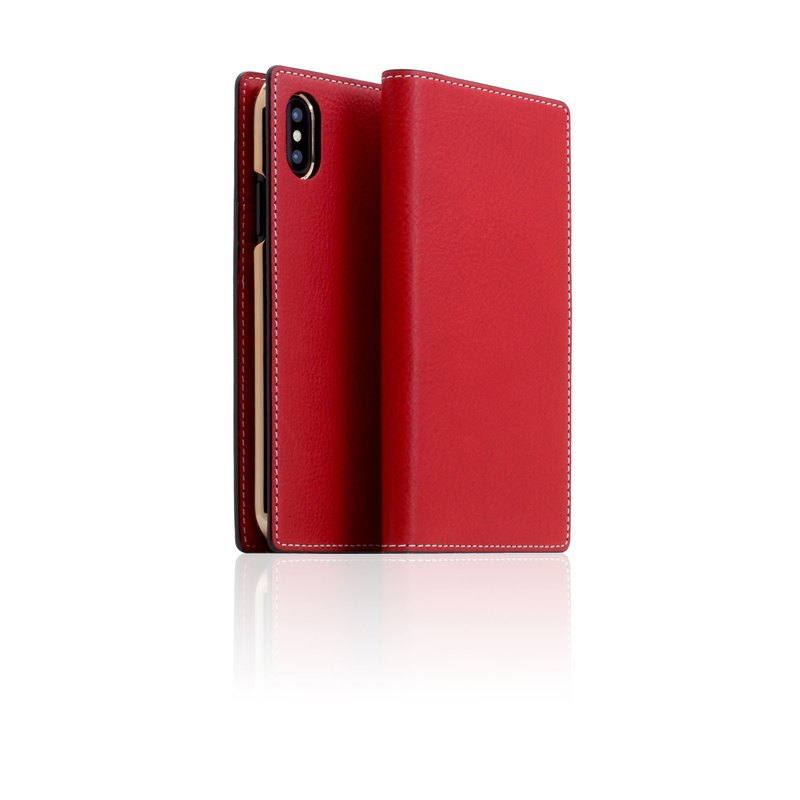 SLG Design iPhone X D6 IMBL hand car line models top leather side flip leather case - red