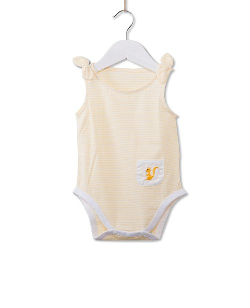 Small squirrel pocket embroidered yellow and white striped fart clothing