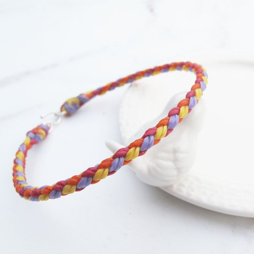 Big staff Taipa [manually made] four-line round edge × hand-woven wax rope anklet (optional 4 colors)