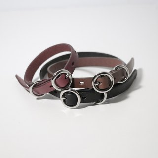 LUCE vegetable tanned leather/pure copper hardware cat/small dog collar