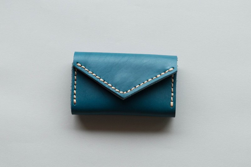 HANDMADE MINIMAL VEGETABLE TANNED LEATHER FROM JAPAN CARD HOLDER BAG-BLUE