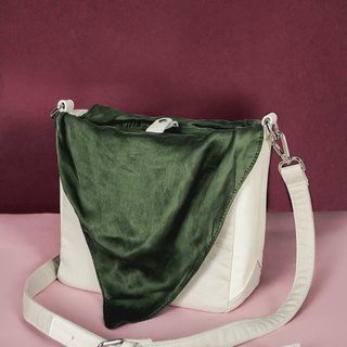 Cream shoulder bag - Tie it bag (Choose Green or Blue pattern)