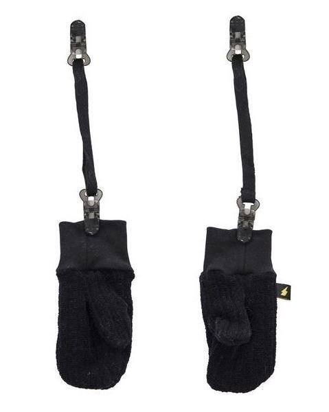Personalized black wool gloves (with clip chain)