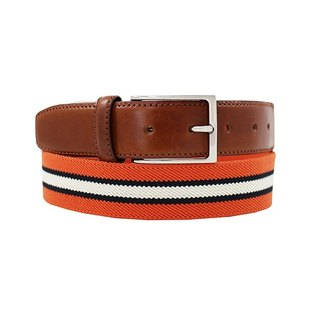 LAPELI │ Belgian elastic fabric belt - three-color striped orange
