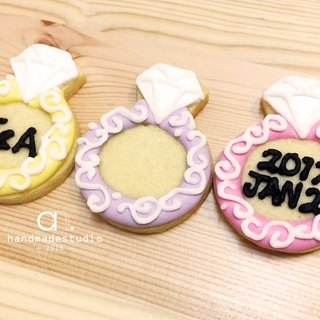 Wedding small things - shiny diamond ring shape cookies (10pcs) by anPastry