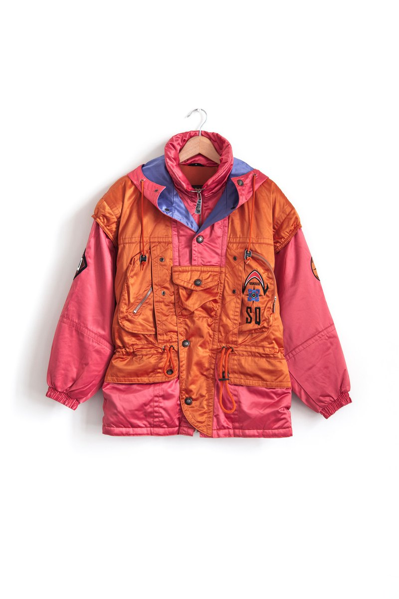 Vintage YAMAHA orange-red ski coat with a vintage coat
