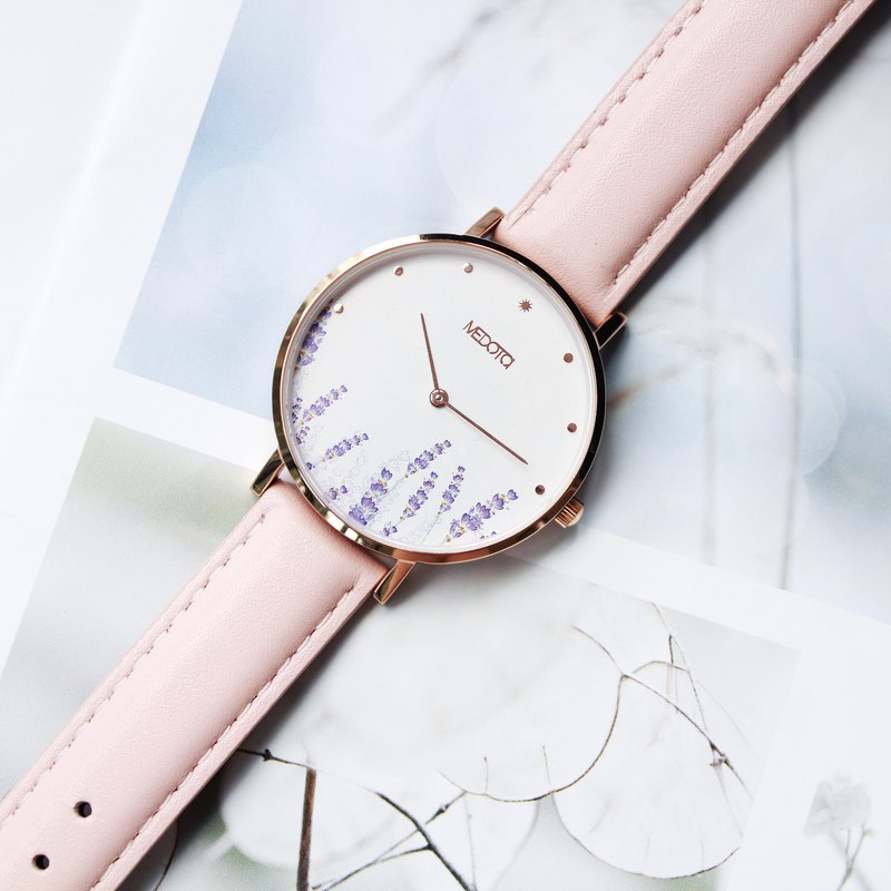 Blossom collection pink leather strap ladies watch / BO-8401