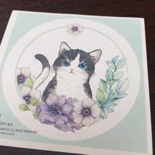 Cat with Flowers Round Stickers - Blue