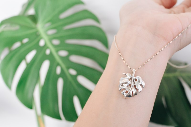 龜背竹-純銀項鍊 Monstera-925 silver necklace
